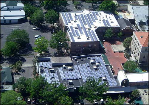 Photovoltaic panels on the Sun Center roof in Gainesville