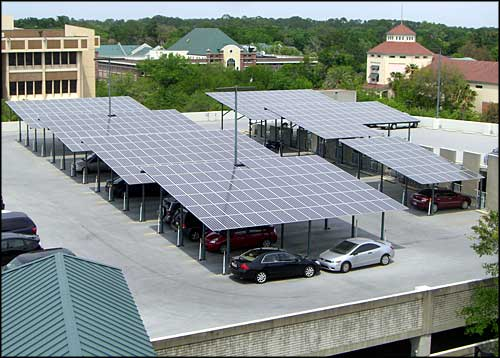 Solar panel;s on the roof of the Downtown Parking Garage in Gainesville, Florida